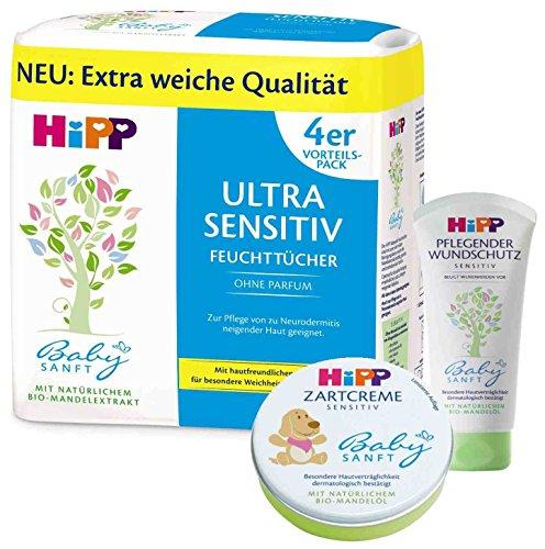 Hipp Baby-Pflegeset bestehend aus:Zartcreme 75ml, Wundschutzcreme 100ml, Feuchttücher Ultra Sensitive 4 x 52 Tücher