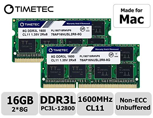 Timetec Hynix IC 16GB Kit (2x8GB) DDR31600MHz PC3-12800 SODIMM Memory Upgrade For Mac (16GB Kit (2x8GB)) -