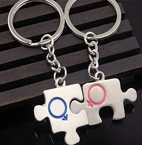 RUIIO Llaveros metálicos de anilla emparejados con colgante en forma de pieza de rompecabezas para regalo de boda
