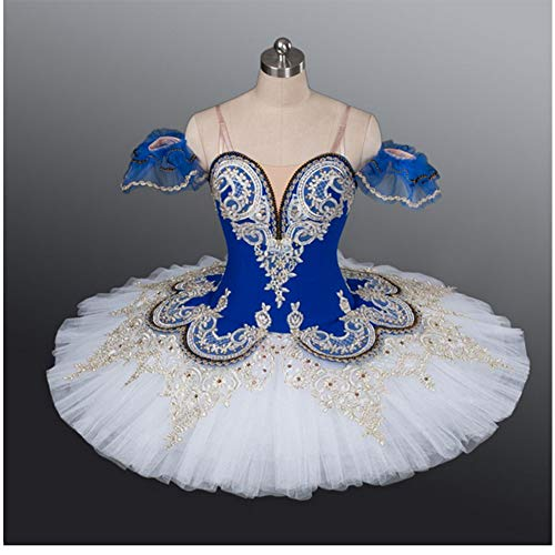 DILIKEXUE Hochwertiger Blauer professioneller Ballett-Ballettröckchen-klassischer Ballett-Leistungs-Kostüm-Ballettröckchen-Harter Ineinander greifen-Rock,1,XS