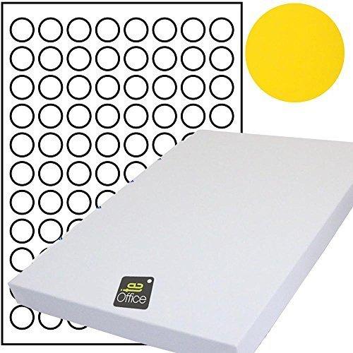 te-office 880 unidades 20mm redondo colorido Universal Puntos Puntos sobre 10 Hoja Arco DIN A4 en color claro - 10-880-gelb
