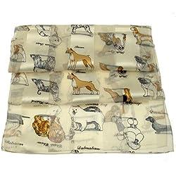 Bufanda - crema marfil de perro blanco y diseño de razas carlino