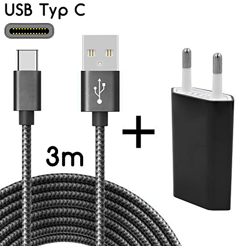 TheSmartGuard USB-C Ladegerät / 2in1 Ladeset / USB-Typ-C Ladekabel mit Netzteil / Netzstecker für S9, S9+, S8, A8, A8+, Note 8, Sony XZ, XA1, XZ1, HTC 10, U11, Huawei P10 - S9 Netzteil