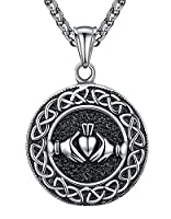 Aoiy Men's Stainless Steel Celtic Knot Claddagh Friendship Endless Love Pendant Necklace, 61cm, aap121