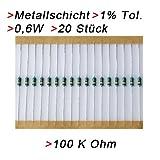 Widerstand 100 K Ohm, 20 Stück, Metallschicht 0.6W 1%...