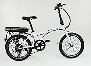 "e.glide E bike ELECTRIC BICYCLE 20"" Folding Bike (White)"