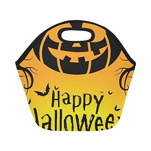 Isolierte Neopren-Lunch-Tasche Happy Halloween 31. Oktober Große wiederverwendbare thermische dicke Lunch-Tragetaschen für Brotdosen Für den Außenbereich, Arbeit, Büro, Schule