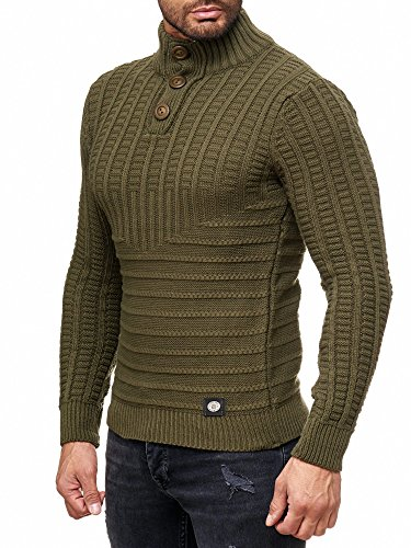 Rusty Neal Herren Grobstrick Strickpullover Pullover Sweatshirt Jacke RN-13314 Khaki