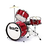 RockJam RJ-10 Kit batterie Junior 3-Piece rouge métallique