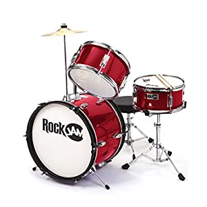 rockjam 3 piece junior drum set with crash cymbal drumsticks adjustable throne and accessories. Black Bedroom Furniture Sets. Home Design Ideas