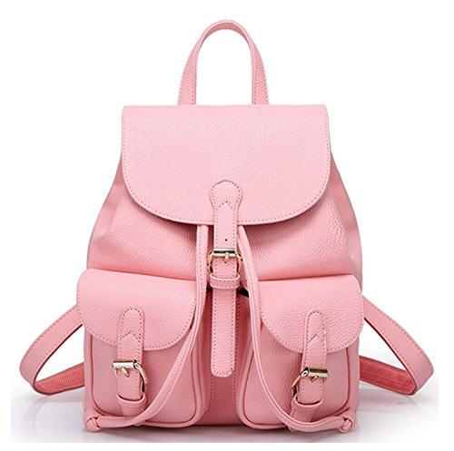 Greeniris Zaino Lady Fashion PU Schoolbag Borsa a tracolla sveglio e bello rosa