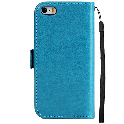 EKINHUI Case Cover Fairy Girl & Flowers Embossing Pattern PU Ledertasche Horizontale Flip Stand Brieftasche Tasche mit Lanyard & Card Slots für iPhone 5 & 5s & SE ( Color : Green ) Blue