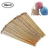 Fodlon Stricknadeln Bambus Set 18 Größen 2.0-10.0mm Handarbeit Holz Knitting Needles Crochet Hooks für Anfänger 36pcs