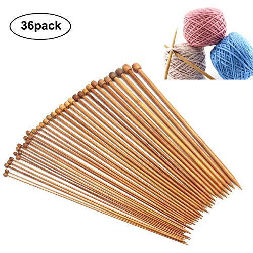 Fodlon Stricknadeln Bambus Set 18 Größen 2.0-10.0mm Handarbeit Holz Knitting Needles Crochet Hooks für Anfänger 36pcs Bambus 9