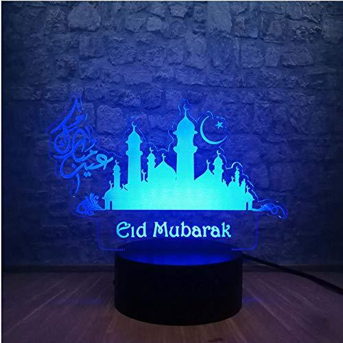 Neuheit Ramadan Dekoration Mubarak 3D Led Nachtlicht 7 Farbwechsel Schreibtischlampe Weihnachtsbeleuchtung Dekor Freund Gruß Beste Geschenk Fernbedienung