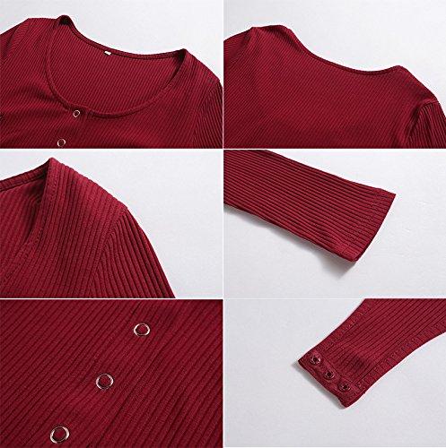 Lunivor Femmes Sexy Col V Profonde Manche Longue Combinaison Short Tops Souple Clubwear Elegant Bodysuit Salopette Jumpsuit Rompers Rouge
