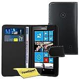 FoneExpert® Wallet Case Flip Cover Hüllen Etui Ledertasche Lederhülle Premium Schutzhülle für Nokia Lumia 520 + Displayschutzfolie (Schwarz)