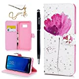 Galaxy S8 Plus Case, Colorful Painting Ultra Slim Fit Leather Wallet Case Magnetic Closure Soft TPU Inner Bumper Wrist Strap Cash & Card Slots Cover for Samsung Galaxy S8 Plus by MOLLYCOOCLE, Lotus