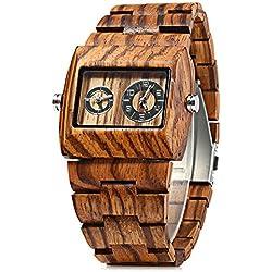 GBlife BEWELL ZS - W021C Wooden Men Quartz Watch Double Movement ZEBRAWOOD