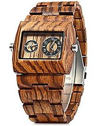 Bewell ZS - W021C Reloj de Madera para Hombre Cuarzo y Analógico Movimiento Rectángulo Dial con Sub-dial(Cebra)