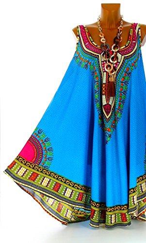 Charleselie94® -  Vestito  - linea ad a - Donna Blu - Turchese