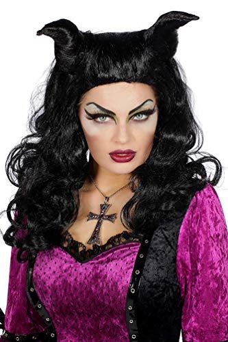 Karneval-Klamotten Horror Perücke Dämon Demona Maleficient mit Hörnern schwarz Damenperücke
