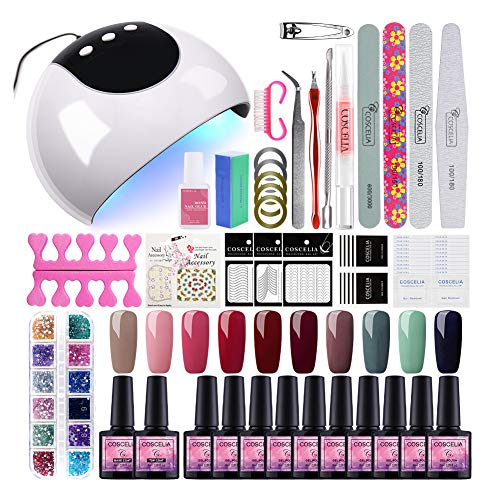 Saint-acior Kit 10pc Vernis Semi Permanent à Ongle 24W UV/LED Lampe Professionnelle Nail Machine Soak Off Polish UV Gel Topcoat Basecoat Nail Art Strass Décorations Manucure Débutant