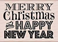 Hero Arts Mounted Rubber Stamps 3-inch x 4-inch, Merry Christmas and Happy New Year