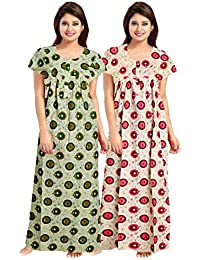 Mudrika Women's Full Length Cotton Nighty (Combo Pack of 2 pcs)