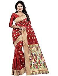 ASMI Fashion Icon Women's Cotton Silk Saree (Red/Maroon)