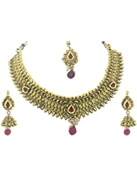 YouBella Jewellery Fashion Party Wear Gold Plated Necklace Jewellery Set With Earrings And Maang Tikka For Girls... - B06Y4CPZ6X