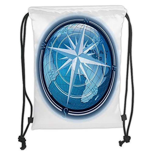 Fashion Printed Drawstring Backpacks Bags,Compass Decor,Abstract Composition with Globe and Windrose Continents Ocean Modern Illustration,Navy Blue Soft Satin,5 Liter Capacity,Adjustable String Cl
