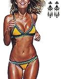 MODETREND Donna Bikini Coordinato Handgestrickte Crochet Neoprene Costumi da Bagno Due Pezzi Reggiseni + Slip Pantaloncini Costumi interi Beachwear