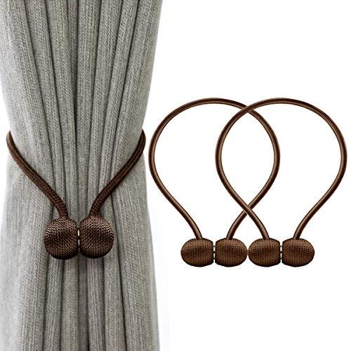 IHClink Magnetische Raffhalter zum Anklemmen von für Vorhänge, Krawatte Band Home Office Dekorative Vorhänge Weben Holdbacks Halter 2 Stück BrownBraun (EU patent 004522746-0001)