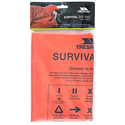 Trespass Men's Radiator Emergency Thermal Safety Survival First Aid Blanket Bivi Sleeping Bag, Orange, One Size from Trespass