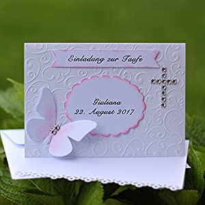 10 Einladungskarten Taufeinladung Einladung zur Taufe Baby Wunschnamen Datum Handarbeit binnbonn