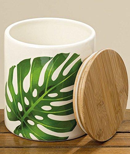 B. Home Collections Vorratsdose Palmenblätter hoch mit Holzdeckel groß Steingut Keramik...