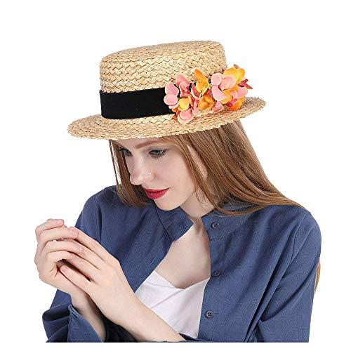 Sommer Stroh Boater Sonnenhut Frauen Raffia Sonnenhut breiter Zylinder Sommer Weizenstroh Boater Hut Dame mit handgemachter Blume Sunbonnet für Frauen Damen Mädchen (Farbe: Natur, Größe: 56- (Raffia Cowboy-hüte Für Männer)
