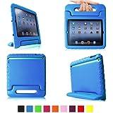 E-Max Funda de Goma Protectora Soporte Antichoque Forro Infantil Funda protectora para Apple iPad 2 / iPad 3 / iPad 4 (Apple iPad 2/3/4, azul)