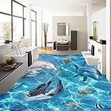 Wapel Custom HD Ocean World Dolphin 3D Stereo Boden Gemälde selbstklebend Wohnzimmer Shopping Raum Bodenbelag Tapete