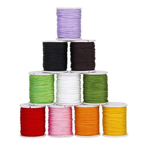 OUNONA 10 colori 0.8mm Spaghi e fili per lavorazione perline Cotone Cerato Cavi Stringhe Corde per Mestiere DIY Braccialetto Rendendo