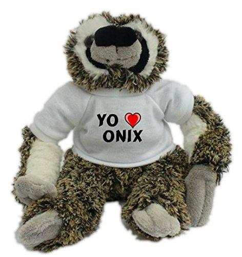 Bradypus de peluche con Amo Onix en la camiseta (nombre de pila/apellido/apodo)