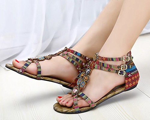 Femmes Flat Sandals chaussures de mode Perlée Bohême Avec Fermeture À Glissière Vin rouge