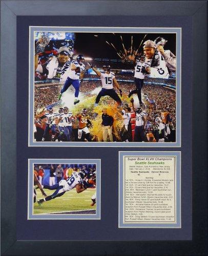 Legenden Sterben Nie 2014Seattle Seahawks Super Bowl XLVIII Champions gerahmtes Foto Collage, 11x 35,6cm (Collage Autogramm)