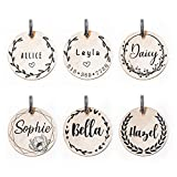 Floral Wreath Personalized Pet ID Tag, Custom Engraved Name Identification Plate