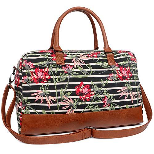 Oflamn Große Vintage Reisetasche Weekender Tasche Sporttasche Handgepäck aus Canvas für Damen Herren (5.0 floral Stripe)