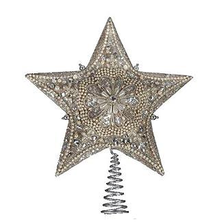 Kurt-Adler-Christbaumspitze-aus-Glas-mit-elfenbeinfarbenen-Perlen-und-platinfarbener-Glitzerverzierung-3429-cm