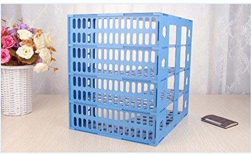DFHHG® File Rack 318 * 323 * 266mm Múltiples capas Archivo de archivos de caja Rack de archivo de la barra de soporte de libros Azul durable