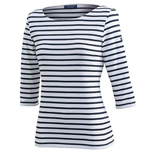 Saint James Damen Shirt 3/4 Arm Garde Cote III R in Weiß-Blau Größe 50 (T 52)