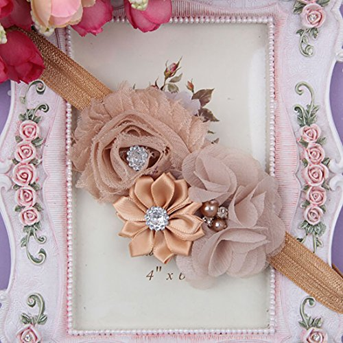 Baby Toddler Pearl Chiffon Flower Headbands Hair Band Infant Fabric Cute Soft Accessories